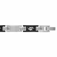 Bracelet motif Tribal acier & pvd noir, 7mm, long. 19.3 ou 21cm