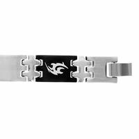 Bracelet acier & pvd noir, motif Tribal en alternance, largeur 1.2cm, longueur 19 ou 21cm