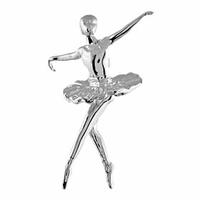 Pendentif danseuse tutu large argent 925 rhôdié, hauteur 2.7cm