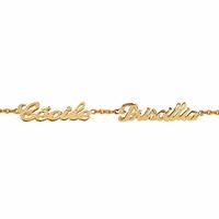 Bracelet 2 prénoms découpés plaqué or, chaîne forçat 2mm, réglable de 17 à 18.5cm