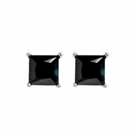 Boucles oxydes noirs & argent rhôdié, 4mm de côtés, à l'unité ou par paire