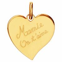 """Pendentif coeur """"Mamie on t'aime"""" plaqué or, option gravure au verso, haut. 2.5cm"""