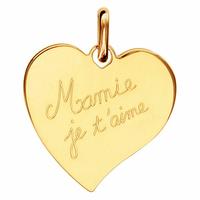 """Pendentif Coeur """"Mamie je t'aime"""" plaqué or, option gravure au verso, haut. 2.5cm"""