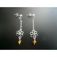 Boucles ambre & argent 925, Fleurs ajourées