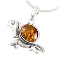 Pendentif tortue ambre cognac & argent, hauteur 2.5cm