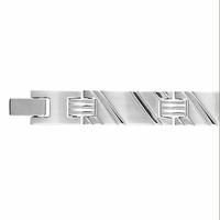 Bracelet diagonales en reliefs, acier, 9mm de large, fermoir amovible 19 à 20.5cm