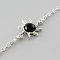 Bracelet jais & argent, Soleil, réglable de 16 à 18.5cm