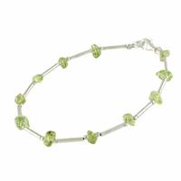 Bracelet péridot & argent alternés, longueur 18cm