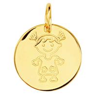 Médaille fillette plaqué Or, 1.5cm, haut. 1.7cm + gravure