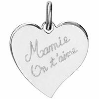 """Pendentif  coeur """"Mamie on t'aime"""" argent 925, hauteur 2,5cm, option gravure"""