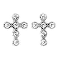 Boucles croix argent rhodié & zircons, puces 7mm x 1cm