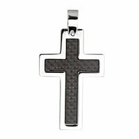 Pendentif croix acier & carbone noir, haut. 4cm