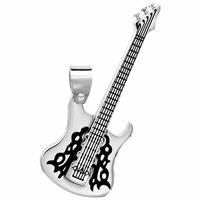 Pendentif guitare électrique acier, grand modèle, 2cm de large x 5.7cm de long