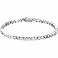 Bracelet argent rhôdié blanc & oxydes blancs transparents sertis, longueur 18cm