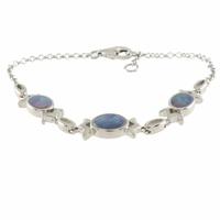 Bracelet opale bleue & argent 925 rhôdié, régl. à 16 et 17cm