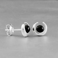 Boucles jais & argent, puces 8mm