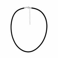 Cordon cuir noir 3mm & fermoir argent 925 - 50 à 55 cm
