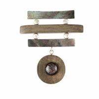 Broche bois, nacre & argent 925, haut. 6cm, photo contractuelle