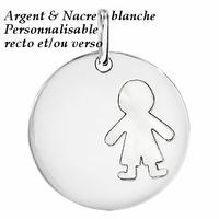 Médaille garçon argent 925 rhôdié & nacre blanche, 3cm + gravure