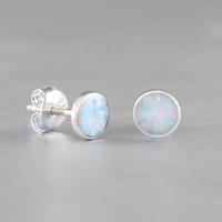 Boucles Opale bleue & argent 925 rhôdié, puces 5mm