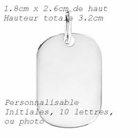 Pendentif plaque en argent 925, option photo(s), gravure(s), hauteur 3.2cm