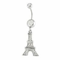 Piercing nombril tour Eiffel & oxydes, acier chirurgical, haut. 5cm