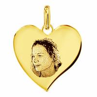 Pendentif Coeur plaqué or options gravure(s), photo(s), 2.5cm, hauteur totale 3cm