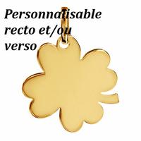 Pendentif trèfle 4 feuilles plaqué or, 2.8cm, hauteur 3.5cm, option gravure(s)
