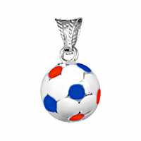"""Pendentif ballon de foot en argent """"bleu, blanc, rouge"""" 1.1cm, hauteur 1.8cm"""