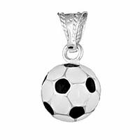 """Pendentif ballon de foot en argent """"blanc & noir"""" 1.1cm, hauteur 1.8cm"""