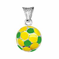 Pendentif ballon de foot en argent jaune & vert 1.1cm, hauteur 1.8cm