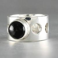 Bague Black Star ou Obsidienne étoilée & argent 925, largeur 1.1cm, T. 52 au 59