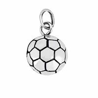 Pendentif ballon de foot argent rhôdié 1.1cm, hauteur 1.8cm