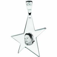 Pendentif étoile + gravure, portrait, argent 925, haut. 4cm