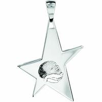 Pendentif étoile argent 925 haut. 5.5cm, gravure (+braille)