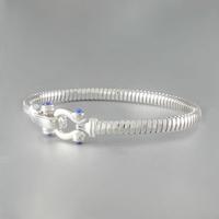 Bracelet Lapis lazuli & argent rhôdié, jonc oméga 4.5mm, long. 17cm