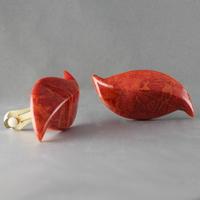 Boucles clips corail gorgone & plaqué or, 2.3cm x 4.8cm
