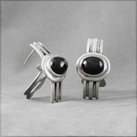 Boucles black star ou obsidienne étoilée & argent, haut. 2.8cm