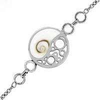 Bracelet Oeil de Sainte Lucie, rond 1.5cm, Yin & Yang, régl. de 16 à 19cm