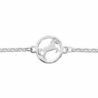 Bracelet cheval en argent 925, diamètre 1cm, réglable de 16 à 18cm