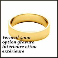 Anneau ruban 4mm en vermeil, T. 48 au 76 ! option gravure intérieure et/ ou extérieure + couleur