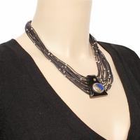 Collier Lapis lazuli, pyrite sur corne & argent, long. 47cm, photos contractuelles