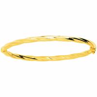 Bracelet Jonc torsadé ouvrant plaqué or, diamètre 4mm, poignet de 15 à 16.5cm