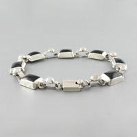 Bracelet onyx & argent, 7 pierres, longueur 20cm