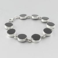 Bracelet onyx & argent, 9 cabochons, longueur 18cm
