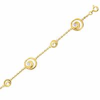 Bracelet infini en plaqué Or & oxydes, longueur 18cm
