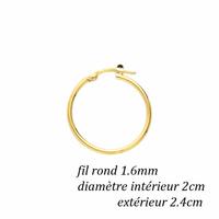Créoles plaqué or, fil rond 1.6mm, diamètre intérieur 2cm, extérieur 2.4cm
