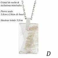 pendentif cristal de roche avec inclusions & argent 925, modèle au choix, photos contractuelles