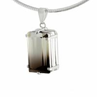"""Pendentif quartz fumé """"Fantôme"""" & argent 925, haut. 3cm, photo contractuelle"""