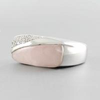 Bague quartz rose & argent 925 rhodié, T. 54 au 59
